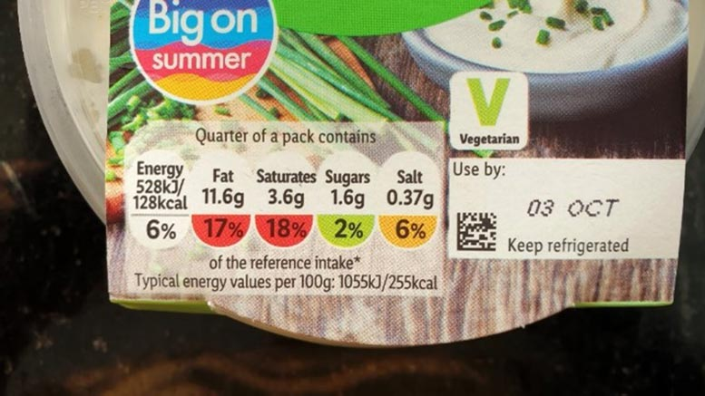 Color Coded Nutrition Labels