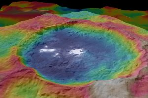 Color-Coded Topographic Map of the Occator Crater on Ceres