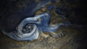 Color-Enhanced Image of a Massive Storm on Jupiter