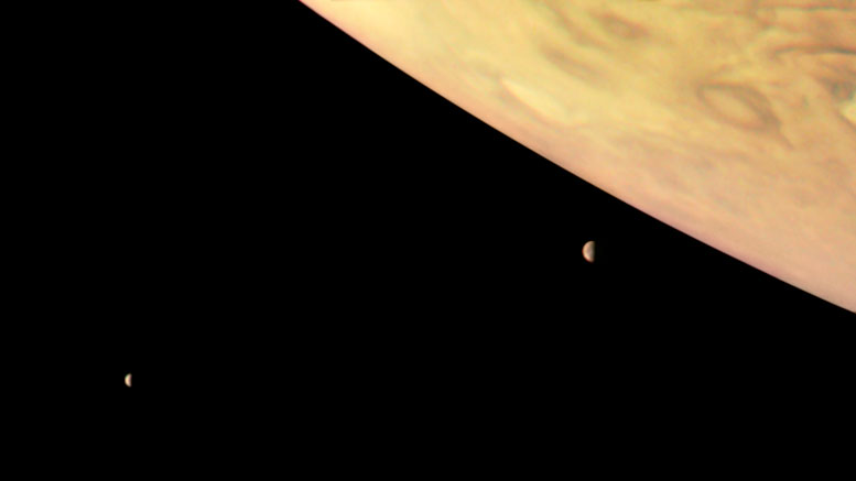 Color-Enhanced Juno Image of Jupiter and Two of Its Largest Moons