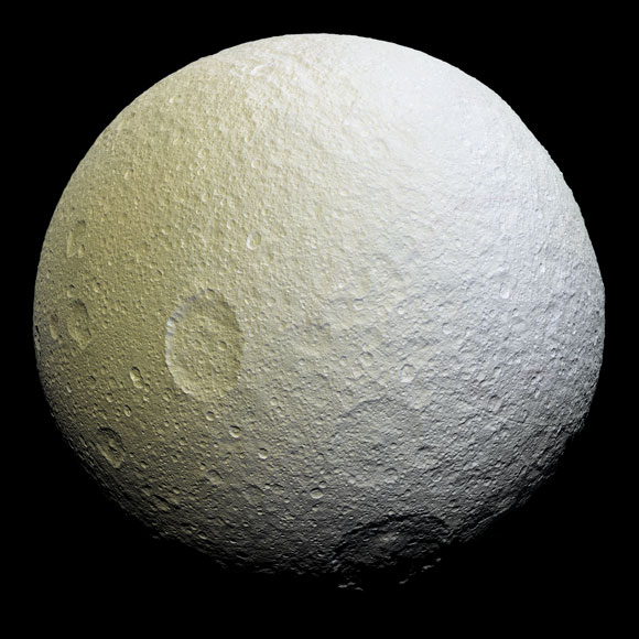 Enhanced-Color Mosaic of Saturn's Icy Moon Tethys