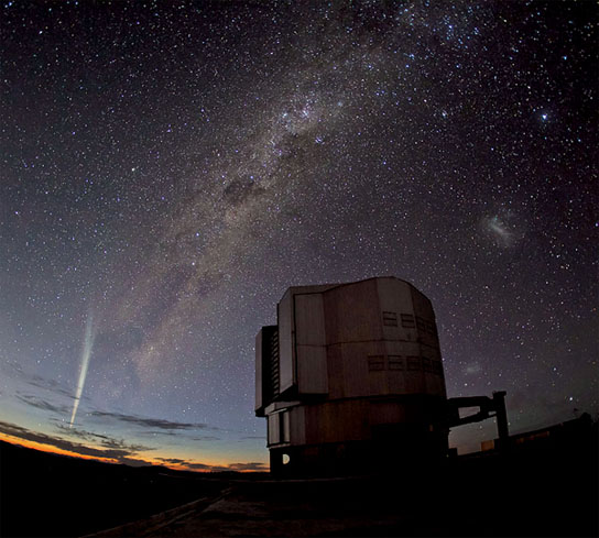 Comet Lovejoy Streaks Past Desert Telescope