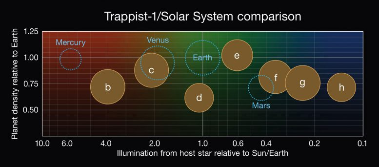 Comparison of the Properties of the Seven TRAPPIST-1 Planets
