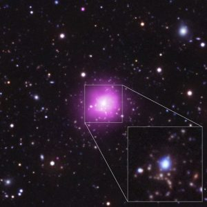 Composite Image of Phoenix Cluster with Close-up in UV and Optical
