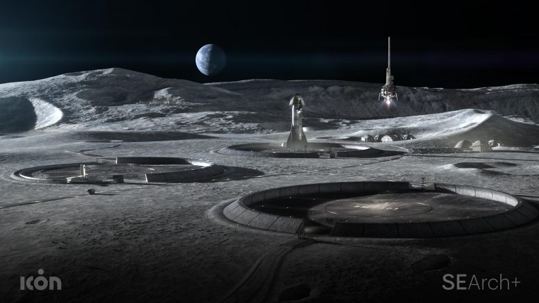 Conceptual Lunar Base With 3D Printed Infrastructure
