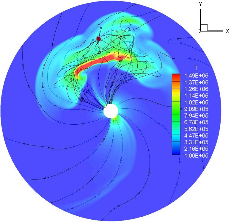 Threaded coronal mass ejection by magnetic field lines