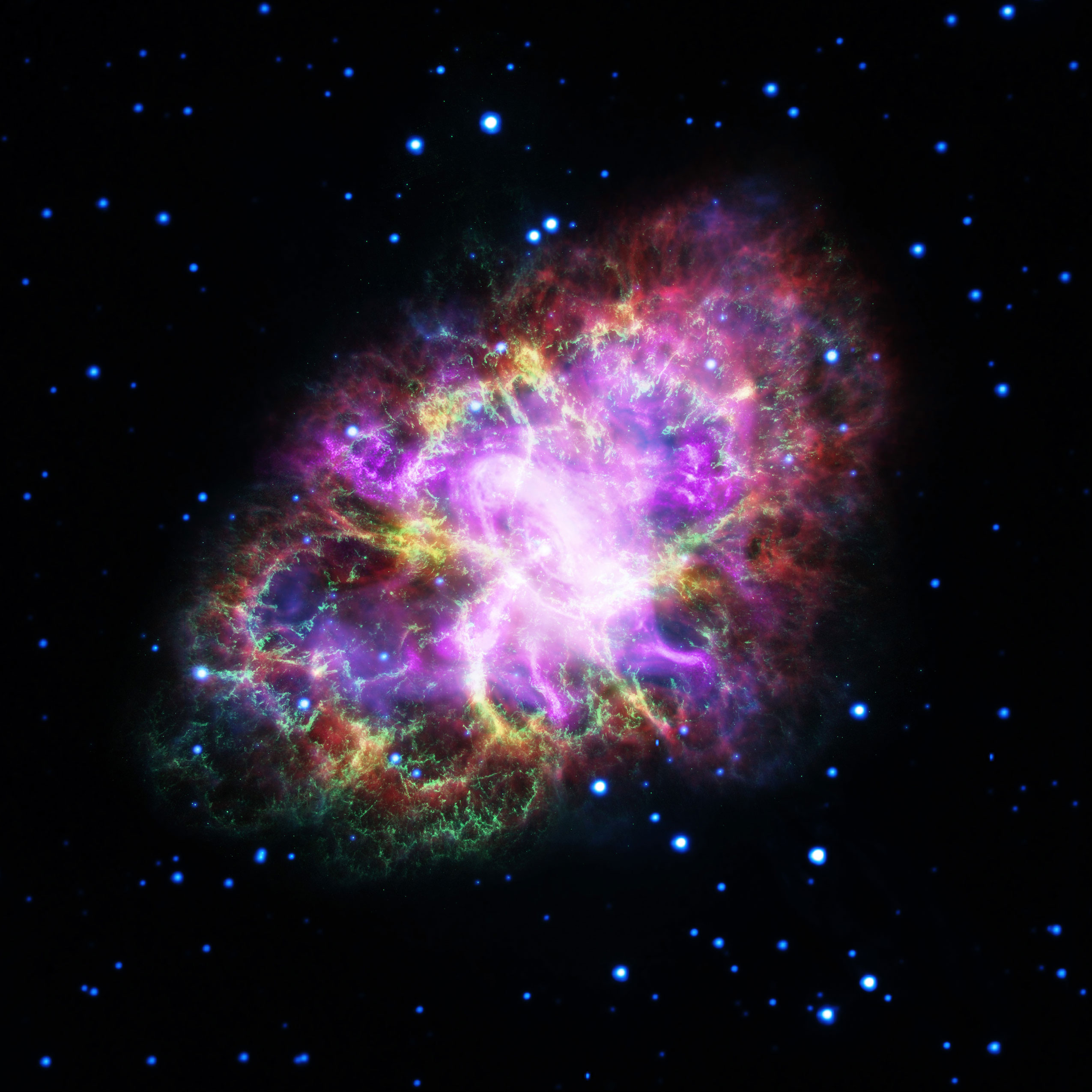 hubble image of the week crab nebula in bright neon colors