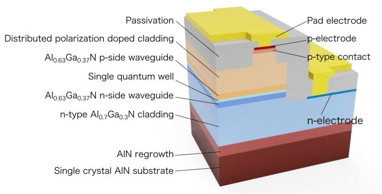 Cross-Sectional Structure of the UV-C Semiconductor Laser Diode