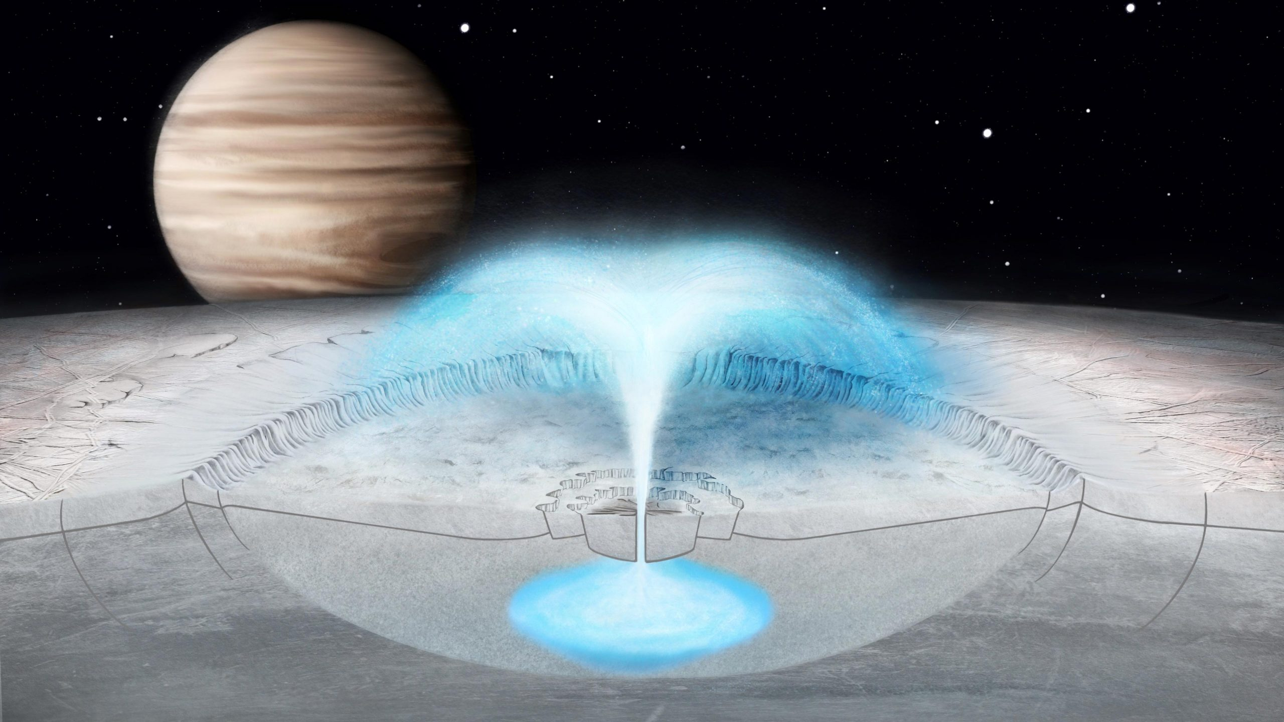 Potential Plumes on Jupiter's Icy Moon Europa Could Come From Water in the Crust - SciTechDaily
