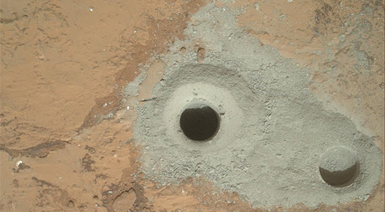 Curiosity-Collects-First-Martian-Bedrock-Sample