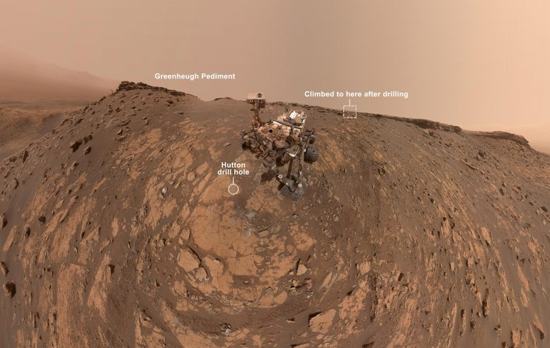 Curiosity Selfie Hutton Drill Site Annotated