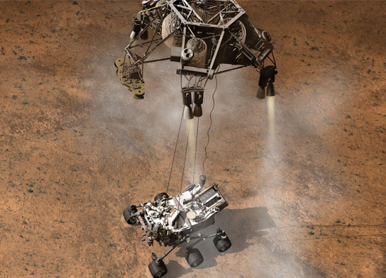 Curiosity, the big rover of This artist's concept depicts the moment that NASA's Curiosity rover touches down onto the Martian surface