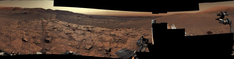Curiosity's View of Benches on Mars