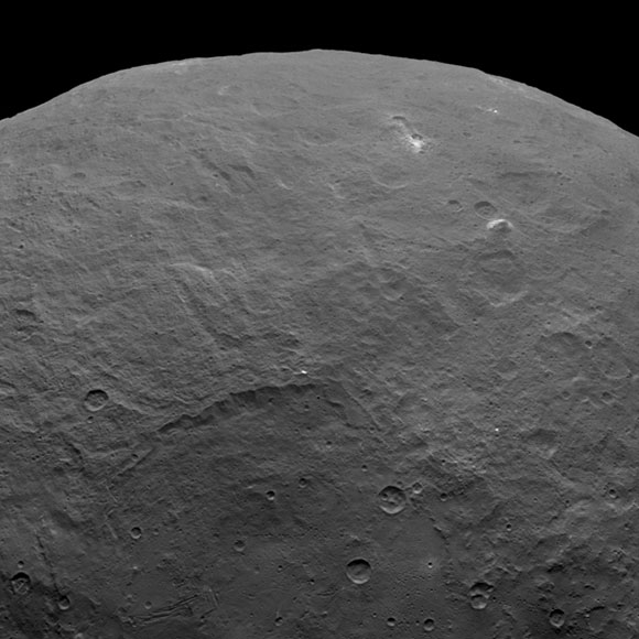 Among the fascinating features on dwarf planet Ceres is an intriguing pyramid-shaped mountain protruding from a relatively smooth area. Scientists estimate that this structure rises about 3 miles (5 kilometers) above the surface. NASA's Dawn spacecraft took this image from an altitude of 2,700 miles (4,400 kilometers). The image was taken on June 6, 2015.
