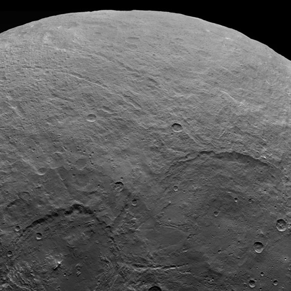A variety of craters and other geological features can be found on dwarf planet Ceres. NASA's Dawn spacecraft took this image of Ceres from an altitude of 2,700 miles (4,400 kilometers). The image was taken on June 5, 2015.