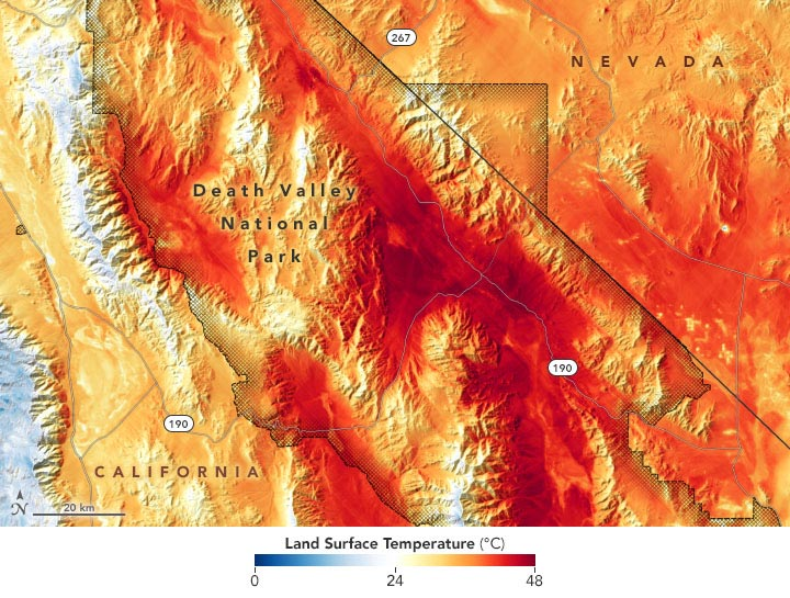 Death Valley National Park Land Surface Temperature August 2020 Annotated