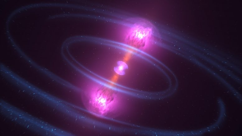 Debris Blasts Away After Neutron Stars Collide