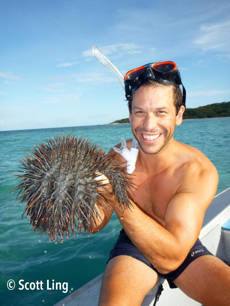 Dr Scott Ling With Crown of Thorns Starfish