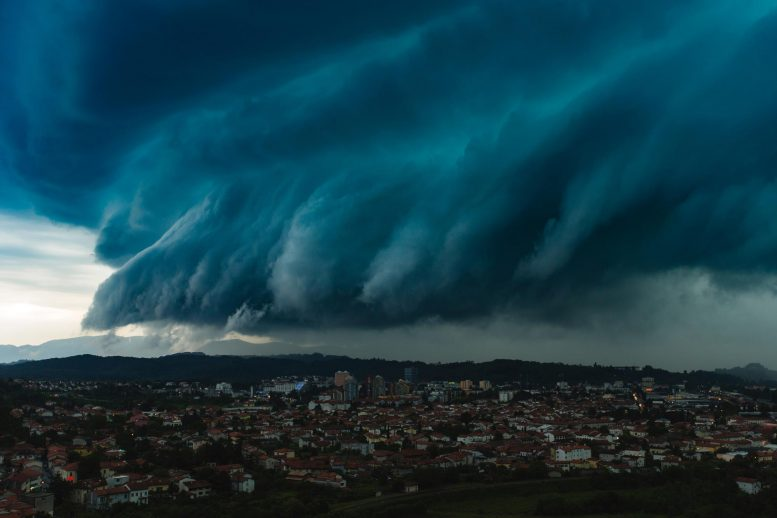 Dramatic Storm Clouds Over City