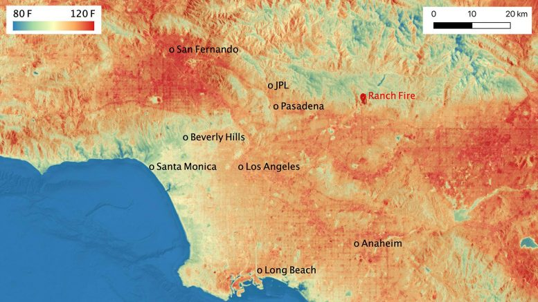 ECOSTRESS Temperature Map Los Angeles August 2020