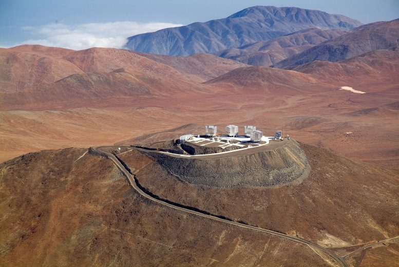 ESO Observatory at Paranal Viewed From Above