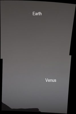 Earth and Venus in the Martian Sky