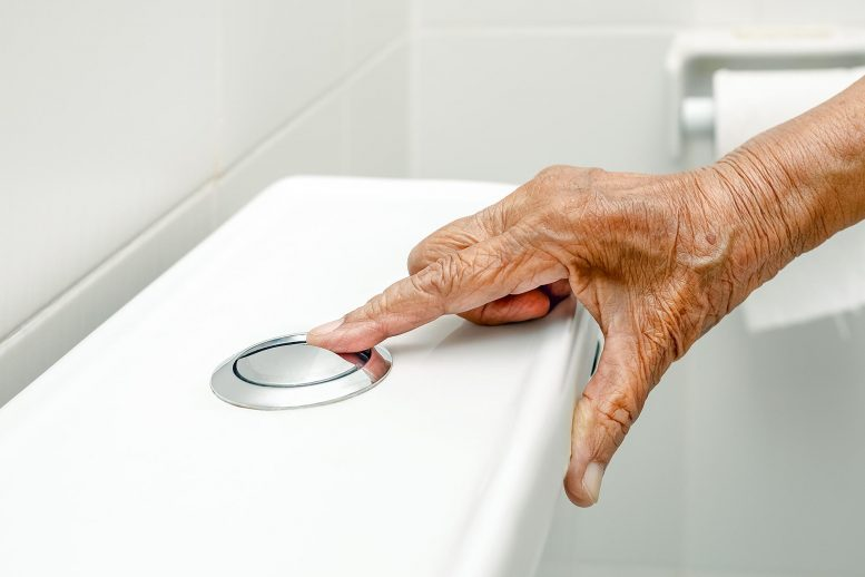 Elderly Woman Flushing Toilet