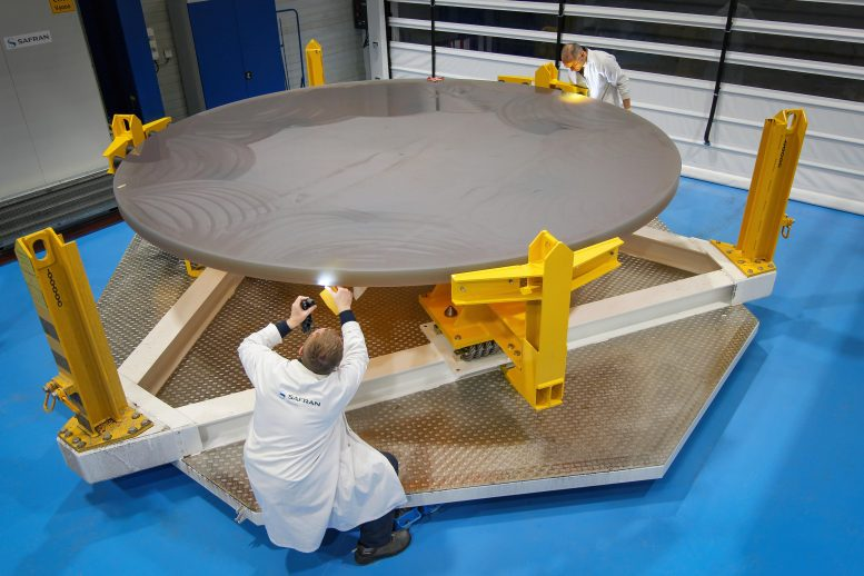 Engineers Inspect ELT Tertiary Mirror