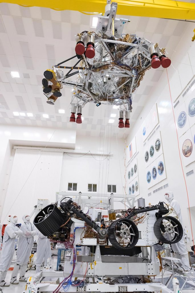 Engineers and Technicians Working on the Mars 2020 Spacecraft
