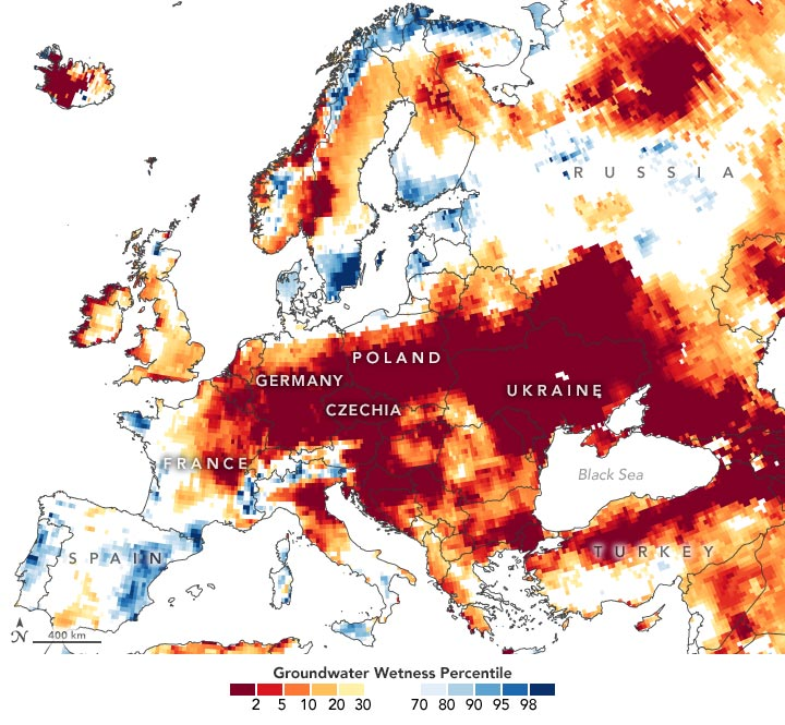 European Groundwater Wetness June 2020 Annotated