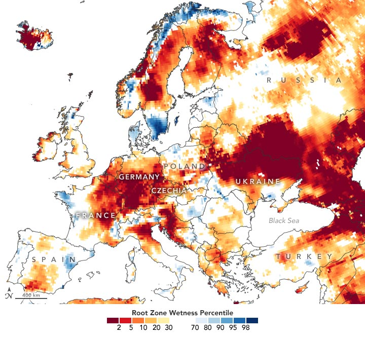 European Root Zone Wetness June 2020 Annotated