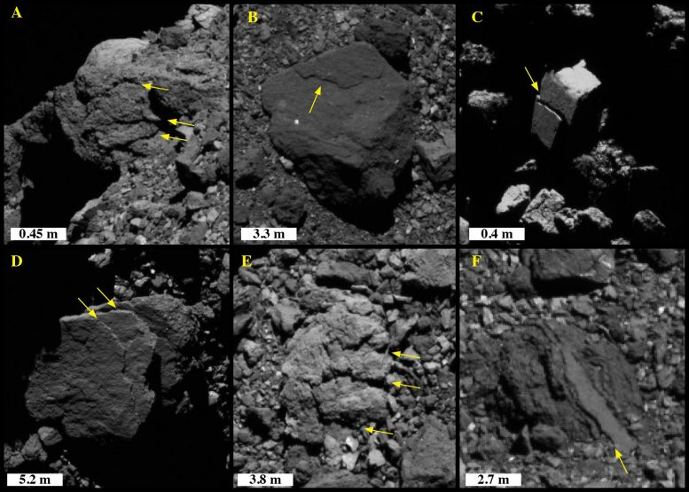 Exfoliation Features Asteroid Bennu