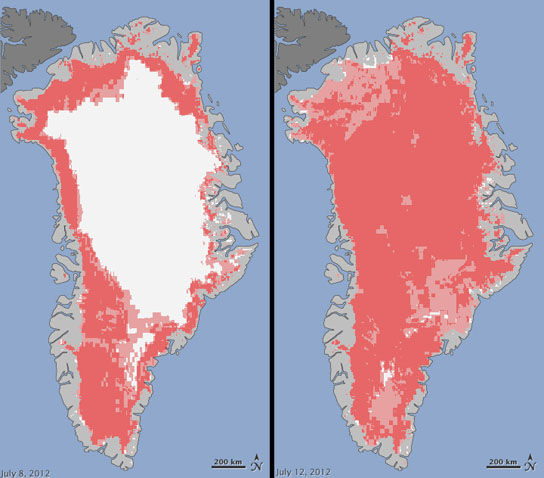 Extent of surface melt over Greenland's ice sheet