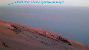 False-Color Image from NASA's Mars Exploration Rover Shows Dust Cloud