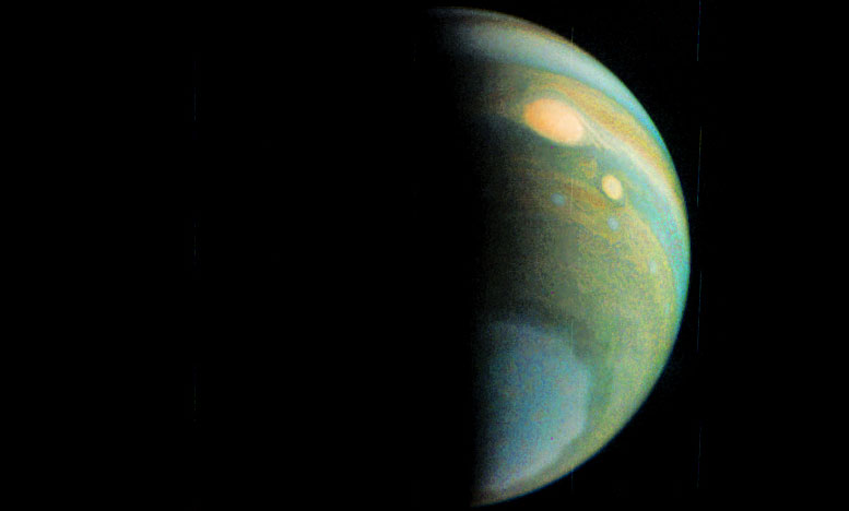 False Color View of Jupiter's Polar Haze