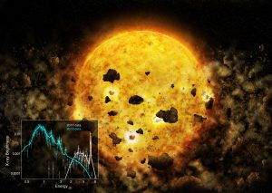 First Evidence of a Young Star Devouring a Planet