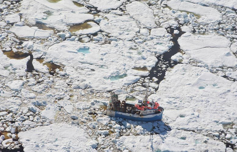 Fishing Boat Trapped in Ice