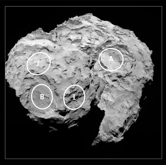 Five Candidate Landing Sites Identified on Comet 67P
