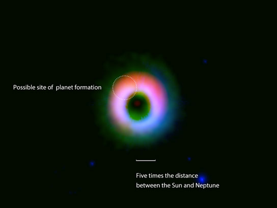 Formation Site of a Giant Planetary System Discovered