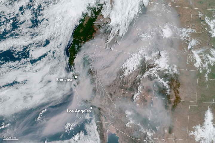 GOES California Wildfire Smoke August 2020 Annotated