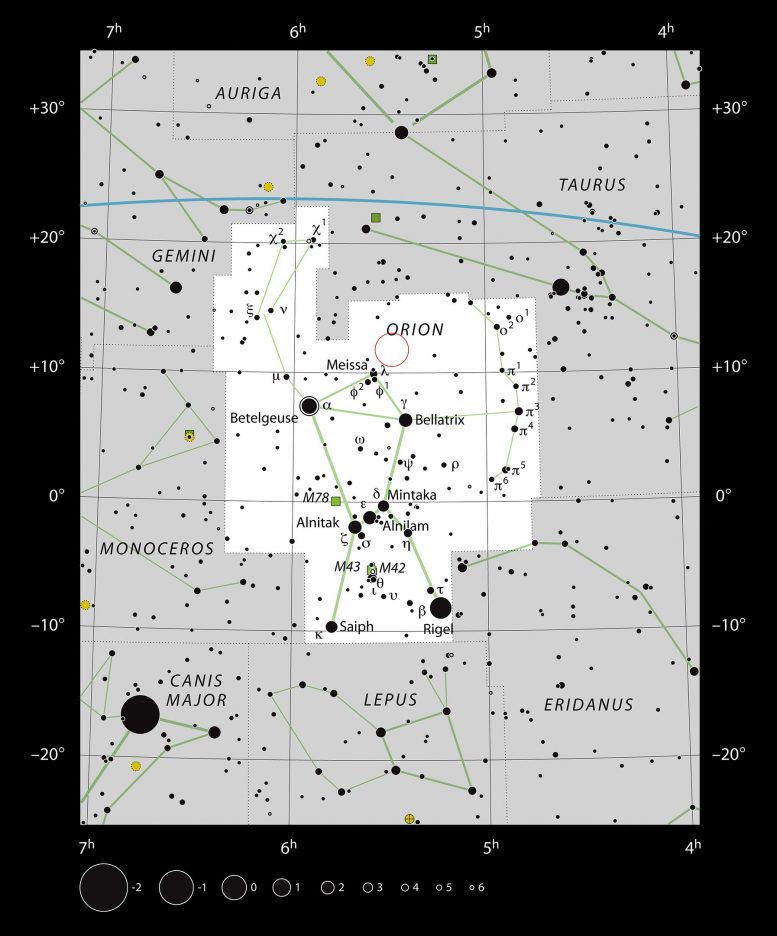 GW Orionis Constellation Chart