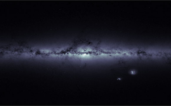 Gaia Satellite Image of the Milky Way and Magellanic Clouds