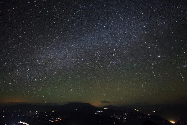 Geminid Meteor Shower Over Dashanbao Wetlands