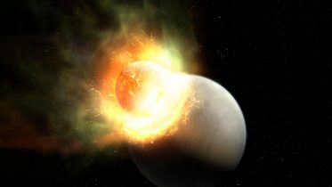Giant Planet Impact Strips Atmosphere