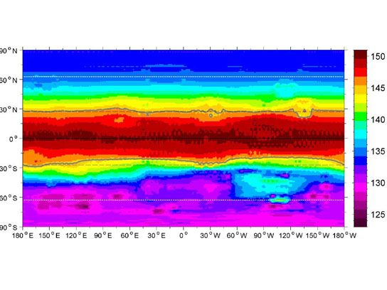 Global Map of Average Surface Temperature of Vesta