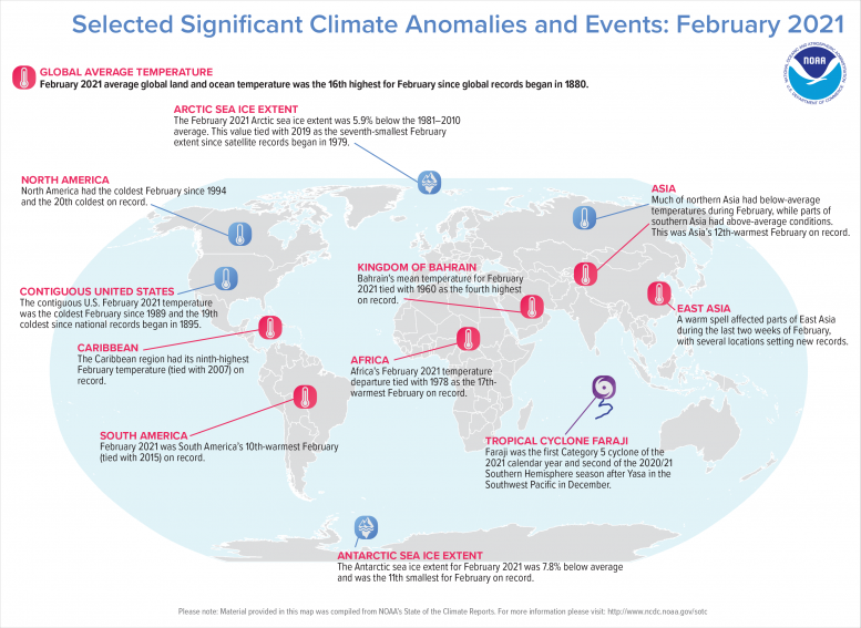 Global Significant Climate Events Map February 2021