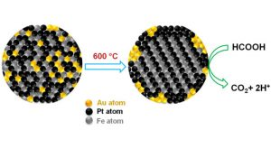 Gold atoms create orderly places for iron and platinum atoms, then retreat to the periphery of the fuel cell