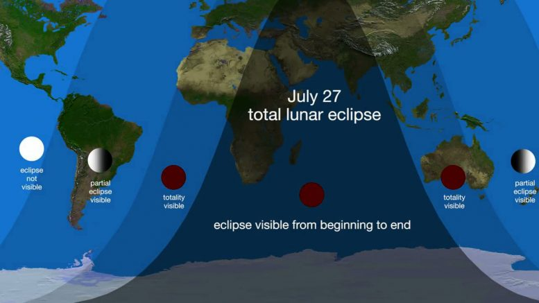 Graphic Shows Visibility of July 27, 2018 Lunar Eclipse