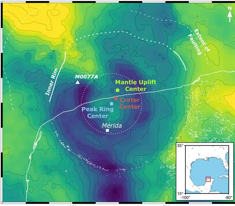 Gravity Map Chicxulub Crater Asymmetries