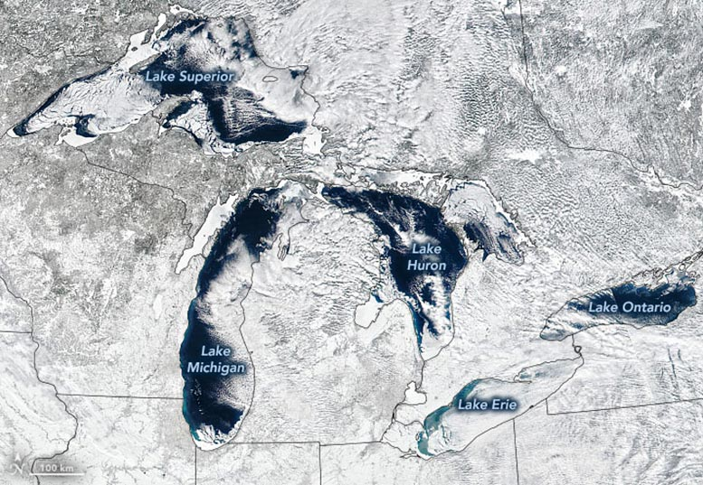 Great Lakes Ice, February 2021 Annotated